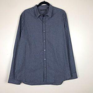 Theory Navy Blue Gray Check Button Down Shirt